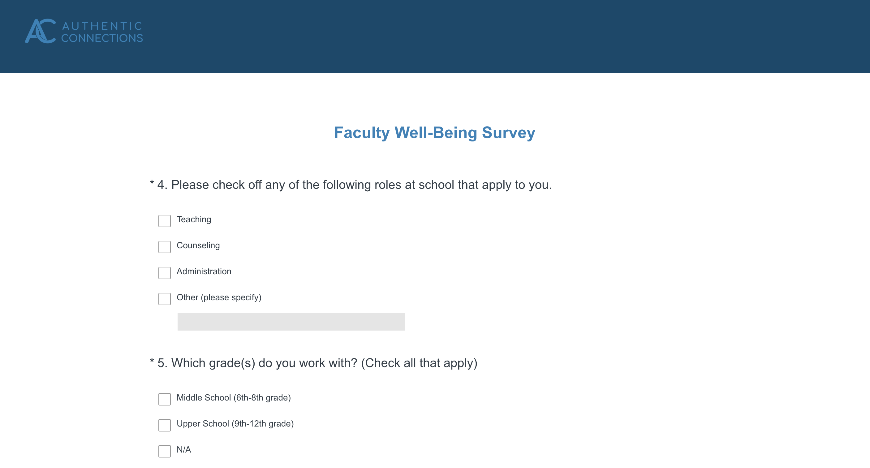 Faculty Wellbeing Survey